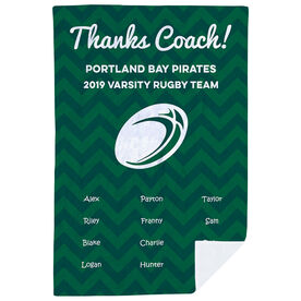 Rugby Premium Blanket - Personalized Thanks Coach Chevron