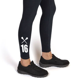 Girls Lacrosse Leggings - Crossed Sticks With Number