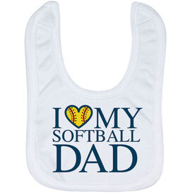 Softball Baby Bib - I Love My Softball Dad