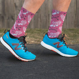 Track and Field Printed Mid-Calf Socks - Winged Foot Pattern