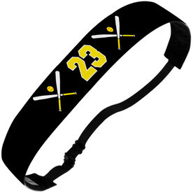 Softball Julibands No-Slip Headbands - Crossed Bats and Number