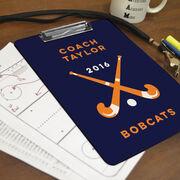 Field Hockey Custom Clipboard Coach with Field Hockey Sticks