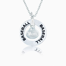 Baseball Mom Message Ring Necklace