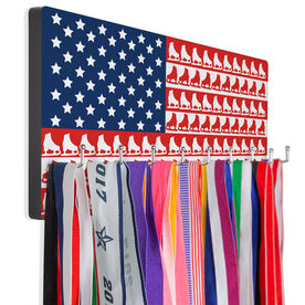 Figure Skating Hooked on Medals Hanger - Figure Skate American Flag