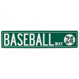"Baseball Aluminum Room Sign - Baseball Way With Number (4""x18"")"
