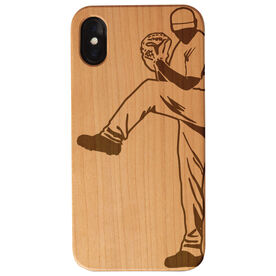 Baseball Engraved Wood IPhone® Case - Pitcher