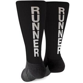 Running Printed Mid-Calf Socks - Runner