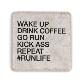Running Stone Coaster - Wake Up Drink Coffee Go Run #runlife