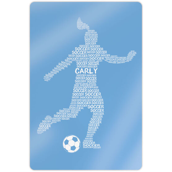 """Soccer 18"""" X 12"""" Aluminum Room Sign - Personalized Soccer Words Female"""