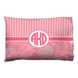 Personalized Pillowcase - Striped Floral Monogram