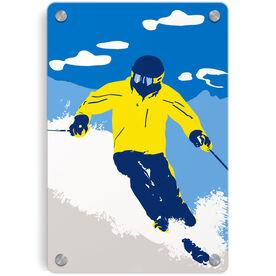Skiing Metal Wall Art Panel - Ski Hard