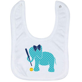 Softball Baby Bib - Softball Elephant with Bow