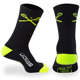 Lacrosse Woven Mid Calf Socks - Crossed Sticks (Black/Yellow)