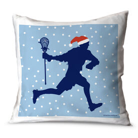 Guys Lacrosse Throw Pillow Lacrosse Silhouette With Santa Hat Male
