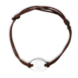 Sterling Silver Cord Bracelet Softball Ball with Number