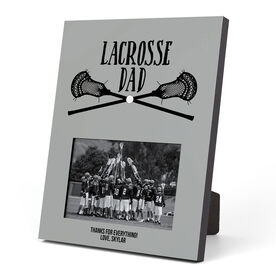Guys Lacrosse Photo Frame - Lacrosse Dad With Crossed Sticks