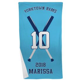Softball Beach Towel Personalized Team with Crossed Bats