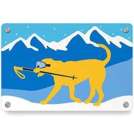 Skiing Metal Wall Art Panel - Sven The Ski Dog