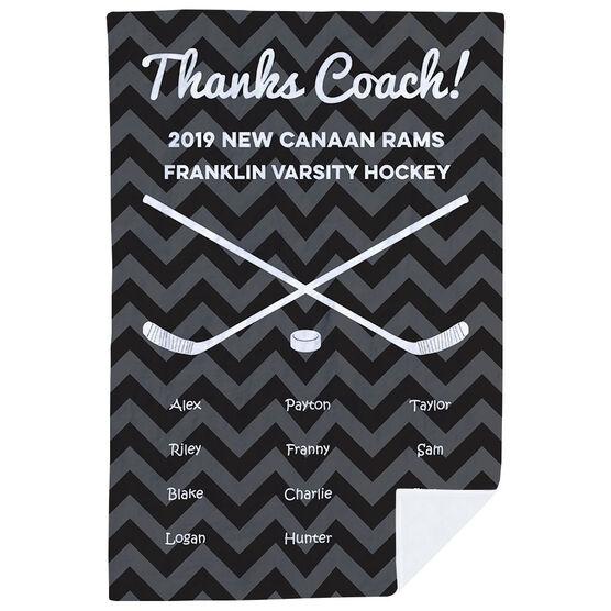 Hockey Premium Blanket - Personalized Thanks Coach Chevron