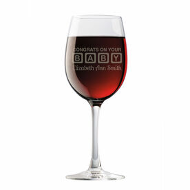 Personalized Wine Glass - Baby Blocks