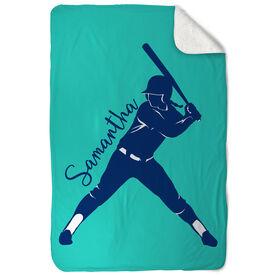Softball Sherpa Fleece Blanket - Personalized Batter Silhouette