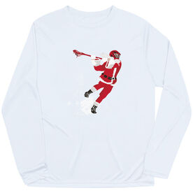 Guys Lacrosse Long Sleeve Performance Tee - Santa Laxer