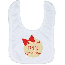 Baseball Baby Bib - Personalized Baseball Bow