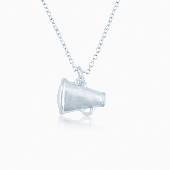 Silver Cheer Megaphone Necklace