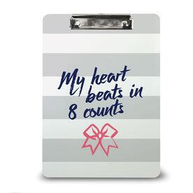 Cheerleading Custom Clipboard Cheer My Heart Beats in 8 Counts