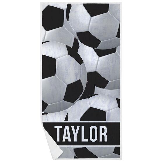 Soccer Premium Beach Towel - Personalized Ball Pattern