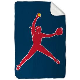 Softball Sherpa Fleece Blanket - Pitcher