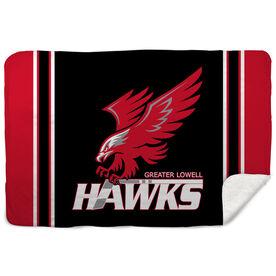Hockey Sherpa Fleece Blanket - Greater Lowell Hawks Hockey Logo