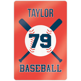 "Baseball 18"" X 12"" Aluminum Room Sign - Personalized Baseball With Bats"
