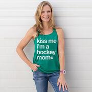 Hockey Flowy Racerback Tank Top - Kiss Me I'm a Hockey Mom