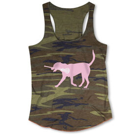 Girls Lacrosse Camouflage Racerback Tank Top - LuLa the Lax Dog (Pink)