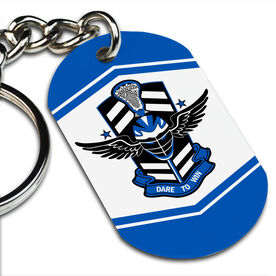 Lacrosse Printed Dog Tag Keychain DARE TO WIN' Lacrosse