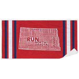 Running Premium Beach Towel - North Dakota State Runner