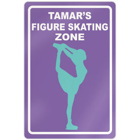 "Figure Skating 18"" X 12"" Aluminum Room Sign Personalized Figure Skating Zone"