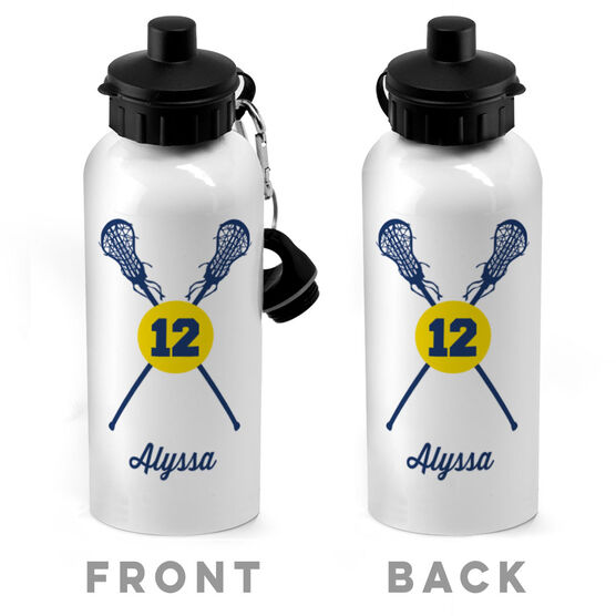 Girls Lacrosse 20 oz. Stainless Steel Water Bottle - Personalized Lacrosse Sticks And Ball Girl