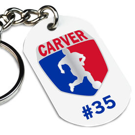 Soccer Printed Dog Tag Keychain Custom Soccer Logo with Team Number