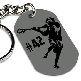 Guys Lacrosse Printed Dog Tag Keychain Personalized Lacrosse Player Overhand Rip