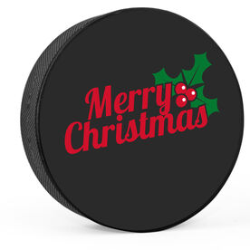 Personalized Merry Christmas Hockey Puck