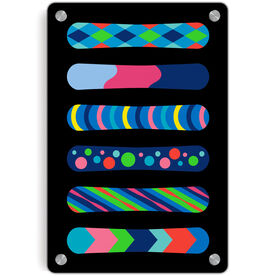 Snowboarding Metal Wall Art Panel - Snowboards Colorful