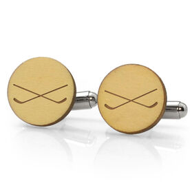 Hockey Engraved Wood Cufflinks Crossed Sticks