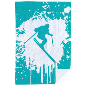 Skiing Premium Blanket - Silhouette With Splatter Background