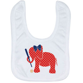Baseball Baby Bib - Baseball Elephant with Bow