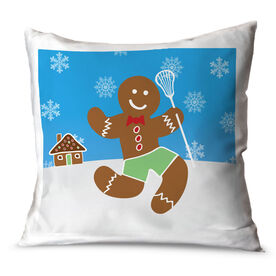 Lacrosse Throw Pillow Lax Gingerbread Man