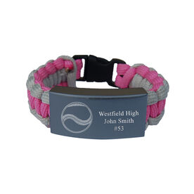 Softball Paracord Engraved Bracelet - 3 Lines/Pink