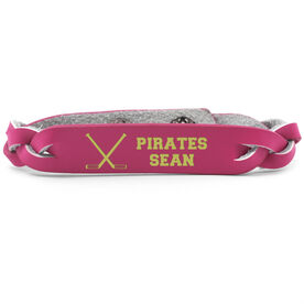 Hockey Leather Engraved Bracelet Personalized Crossed Sticks
