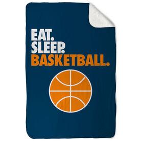 Basketball Sherpa Fleece Blanket - Eat. Sleep. Basketball. Vertical